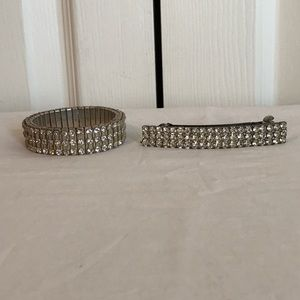 Rhinestone bracelet and barrette